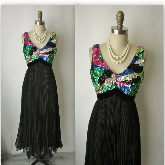 60's Evening Gown // Vintage 1960's Sequin Chiffon Empire Evening Gown Maxi Dress XS S