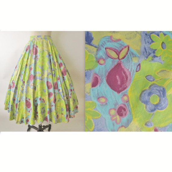 50's Floral Skirt // Vintage 1950's Floral Print Cotton Full Circle Summer Skirt M