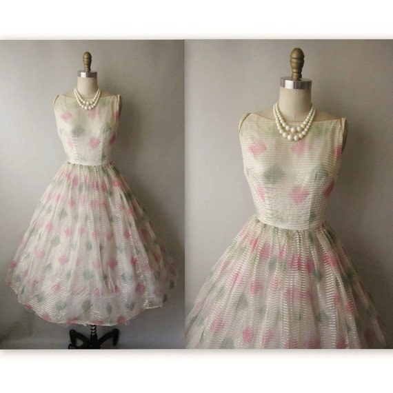 50's Organza Dress // Vintage 1950's Painted Ivory Organza Full Cocktail Party Prom Dress XS