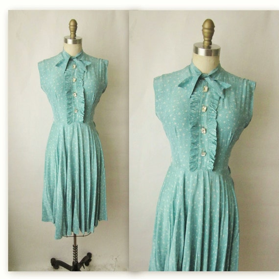 40's Rayon Dress // Vintage 1940's Printed Rayon Swing Party Dress S