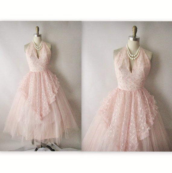 50's Prom Dress // Vintage 1950's Embroidered Pink Tulle Halter Wedding Party Prom Dress Tea Gown XS