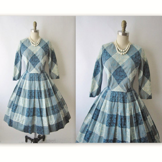 60's Plaid Dress // Vintage 1960's Embroidered Cotton Casual Day Dress M