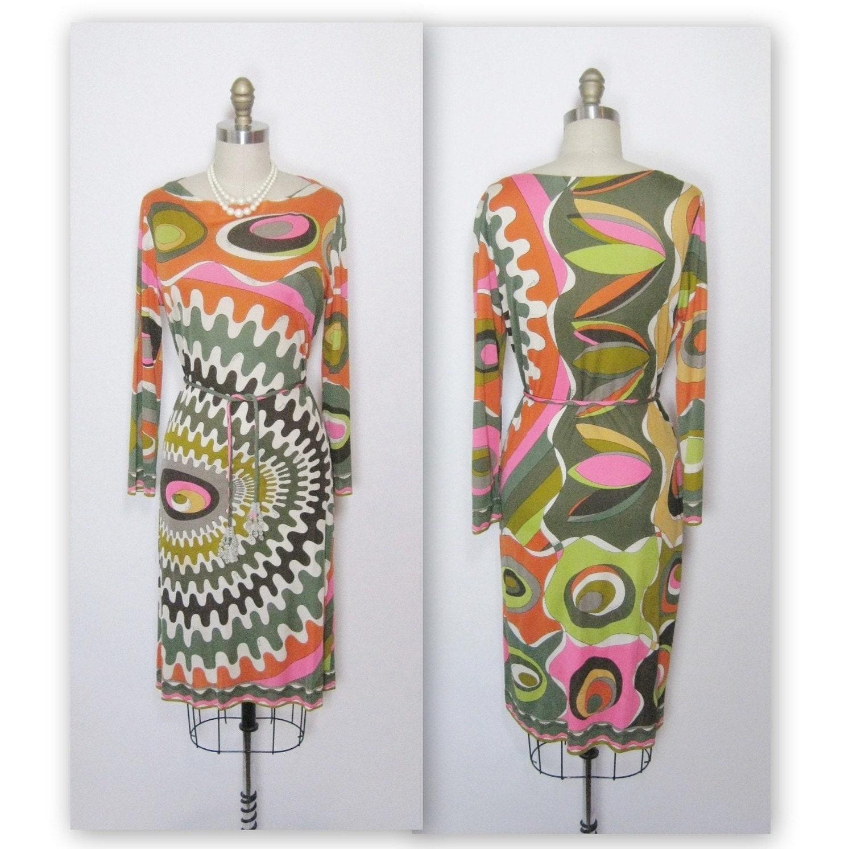 Vintage Emilio Pucci Signed Mod Geometric Silk Jersey Dress