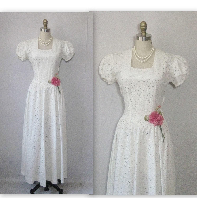 1940 39 S White Eyelet Cotton Floor Length Wedding Dress Gown