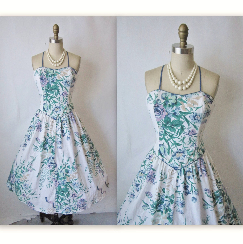 vintage summer dress 80s 50s floral print cotton halter