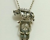 Angel Piper Hopes For Peace - Sterling And PMC Jewelry Pendant - 460