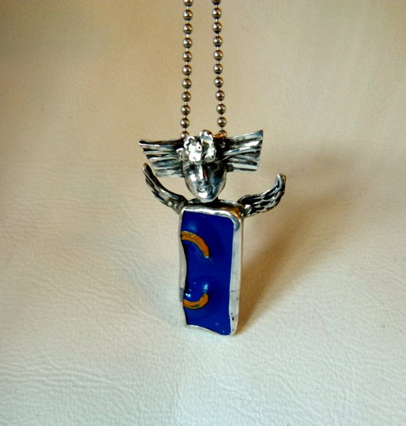 Angel Blu Pendant - Repurposed Sterling Silver, Art Silver Clay, and License Plate - 49