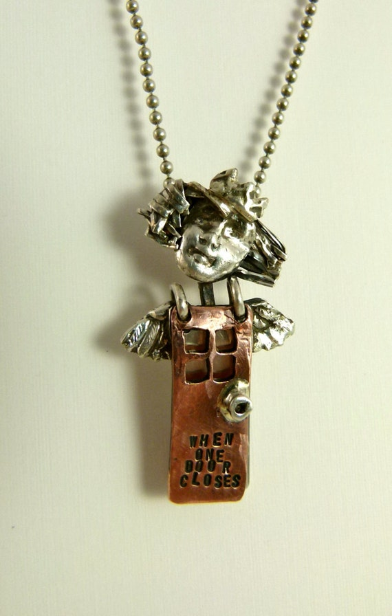 Angel Blythe Opens A New Door -Repurposed Sterling, Copper. and PMC - Jewelry Pendant - 671