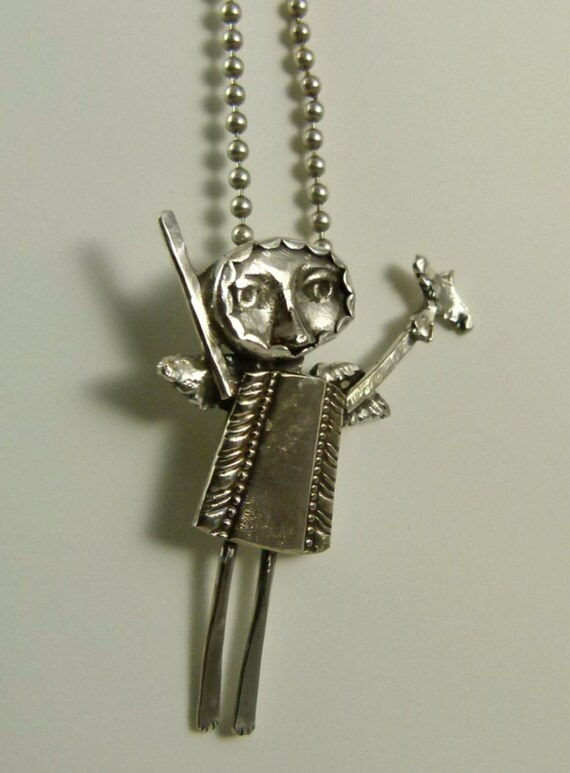 Angel Annabelle Lets Her Spirit Soar - Up Cycled Sterling, Sterling Silverware, And PMC - Art Jewelry Pendant - 692