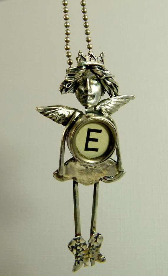 Angel Emma Feels Energized - Art Jewelry Pendant - Repurposed Sterling, A Typewriter Key, And PMC - 758