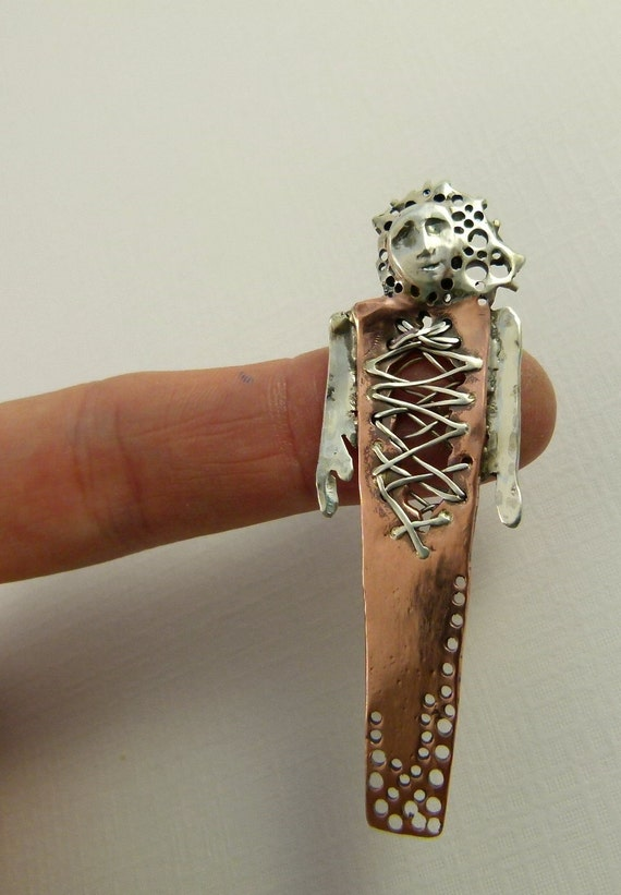 Talilla Is All Torn Up - Art Jewelry Pendant - Repurposed Sterling, Copper, And PMC - 787