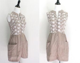 cotton tunic / 1960s mini dress / boho tunic gingham small