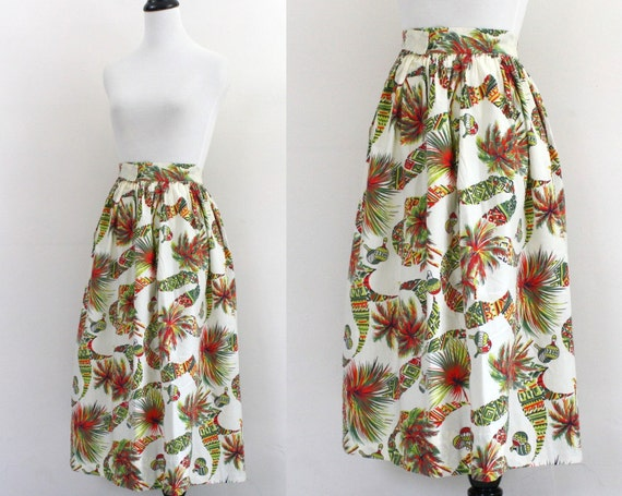 1950s skirt / novelty print skirt / 50s full cotton skirt  XS Small