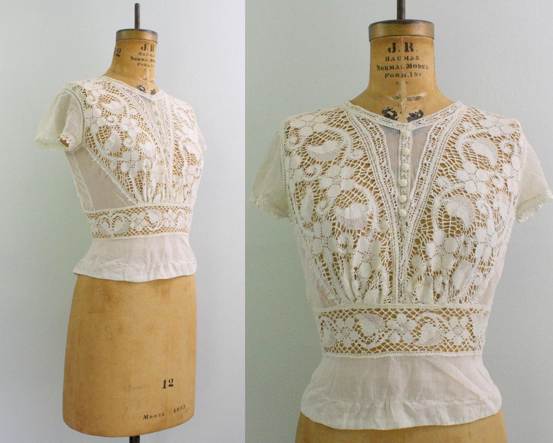 vintage Edwardian blouse / 1900s lace blouse / Downton Abbey