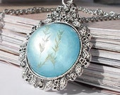 Dried leaves translucent turquoise resin pendant necklace