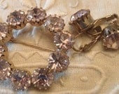 Feminine palest Lavender Lilac LG Rhinestone SET Brooch, Earrings Vintage Glam