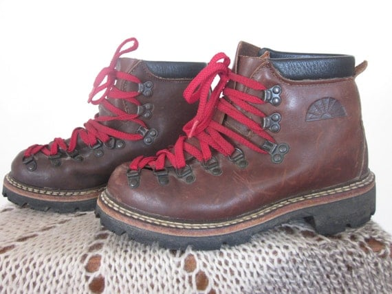 Amazing Dexter Vintage Leather Hiking Boots Red Laces Mens Size 65 6