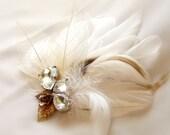 Feather Fascinator, White Bridal Head Piece