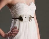 Bridal Sash - Headband - Whimsical - Silk Flower - Feather - TEVA