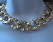 Holiday Sale ANN Klein Necklace, Choker Ann Klein Necklace, Matt Gold Necklace, 1980s Vintage
