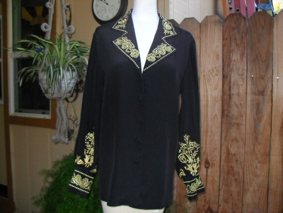SALE Diane Von Furstenberg Blouse/Silk/Vintage/Embroidery/Spanish Style, Vintage Blouse