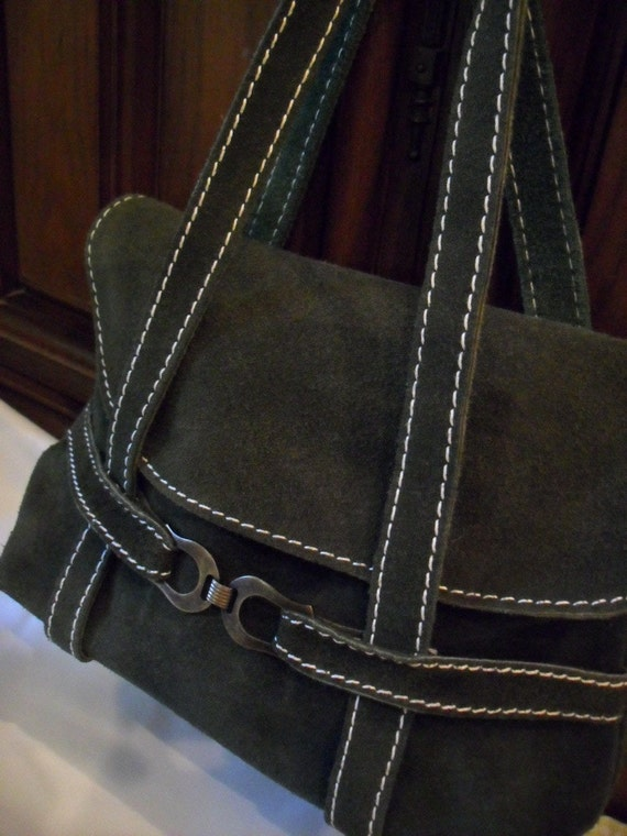 SALE Clearance Green Suede Purse Vintage Green Suede Purse