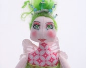 Fairy Godmother OOAK Cloth Art Doll, Naomi in Pink and Blue