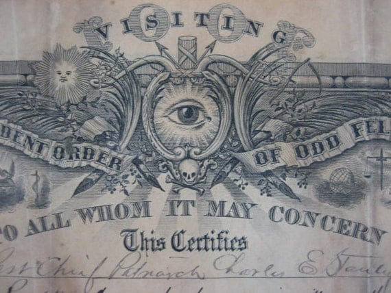 "An ""Independent Order of Odd Fellows"" Membership Document from 1889 w/ Eight Handwritten Entries"