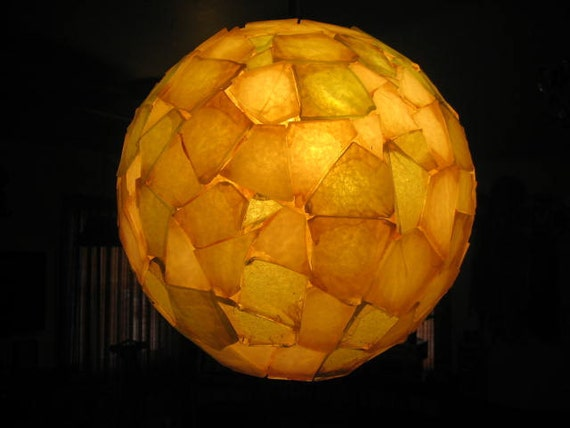 Amber Yellow Spherical 1960s Chunky Acrylic Resin Mosaic Swag Lamp: Pastel Green when Switched Off