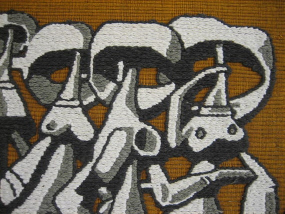 Mid Century Mod Abstract Textile Weaving: Four Fancy Ladies Strolling, or, Naked Aliens with a Handbag -- 1960s Black, White & Brown