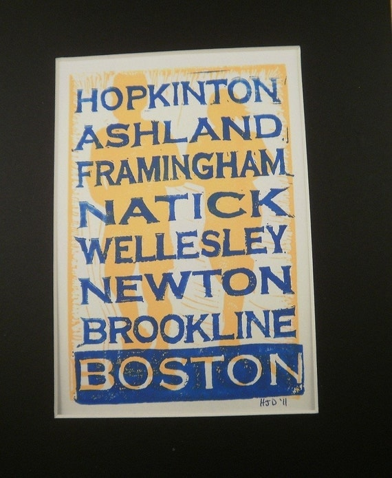 Boston Print Blue Words on Top, in Honor of the Marathon