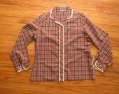 women's vintage plaid lace button up.
