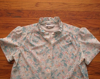 women's vintage ruffled floral short sleeve.