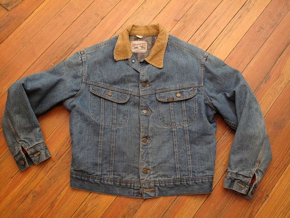 mens vintage blanket lined lee storm rider denim jacket
