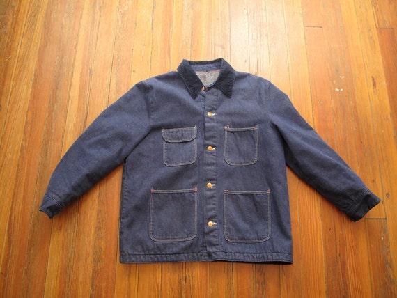 mens vintage wrangler blanket lined denim chore jacket