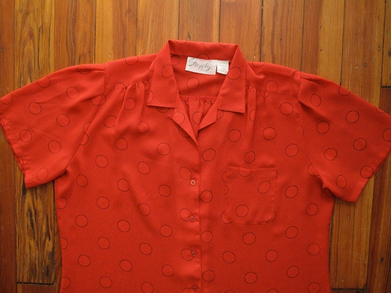 women's vintage red polka dot short sleeve blouse.
