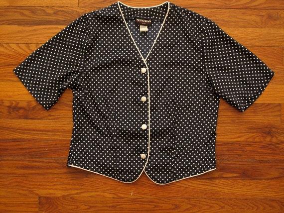 women's vintage navy polka dot blouse.