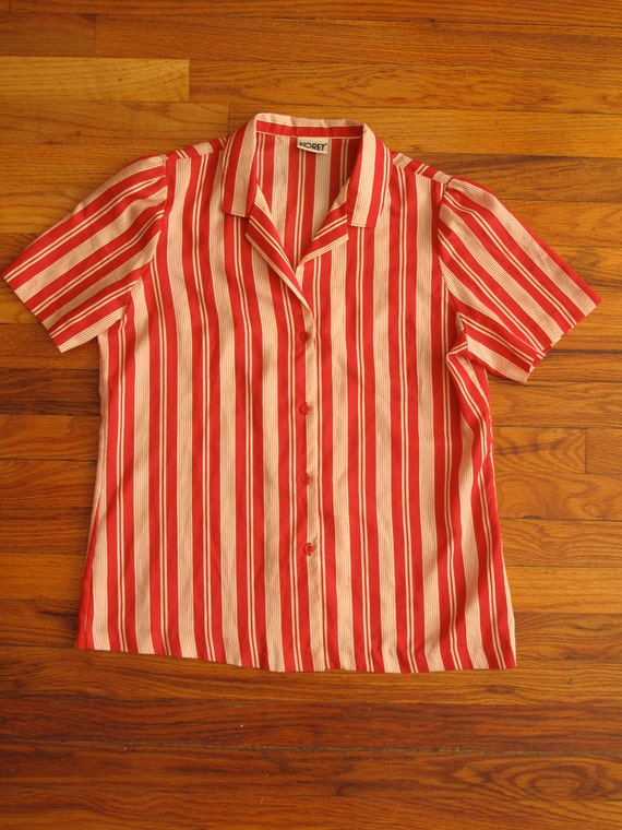 women's vintage striped short sleeve blouse.
