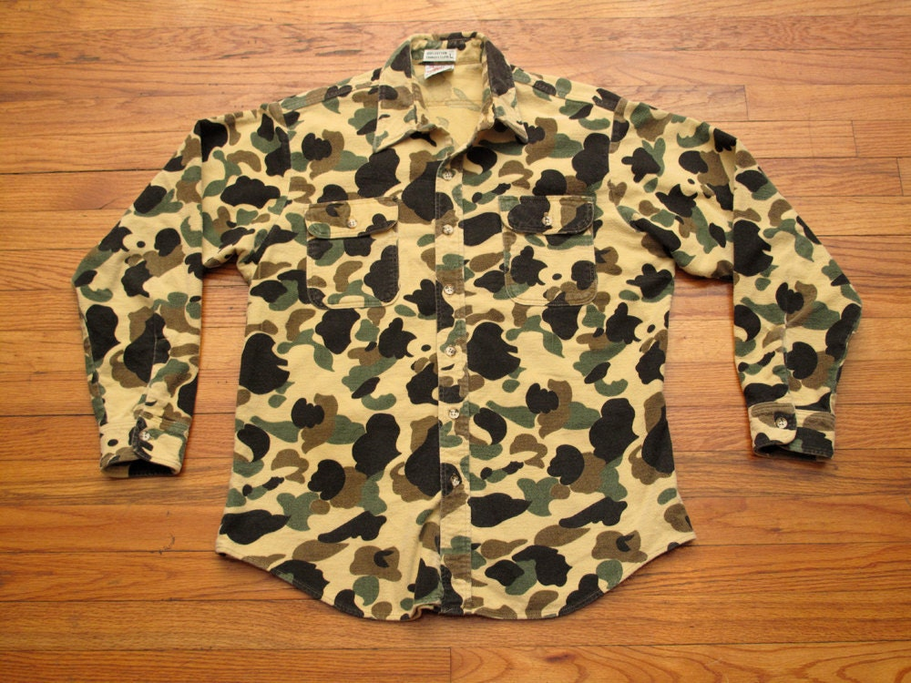 mens vintage camo chamois cloth shirt
