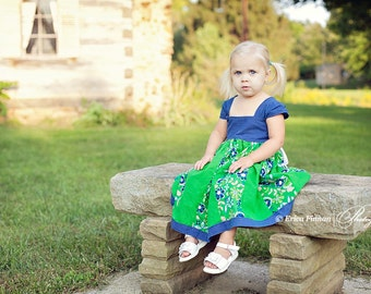 Kid's clothing sewing pattern PDF tutorial Patchwork Milkmaid lace up child's dress for girls and babies INSTANT DOWNLOAD