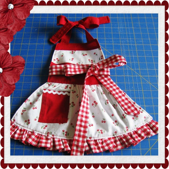 Children's Apron with ruffle sewing tutorial PDF pattern for girls INSTANT DOWNLOAD