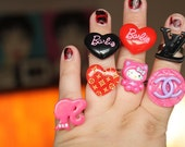 Kawaii-Kitch Assortment Of Rings - Chanel, Louis Vuitton, Hello Kitty, Barbie Rings