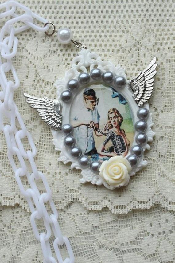 Vintage Style Cyborg Lady Necklace