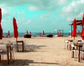 Beach with Red Umbrellas