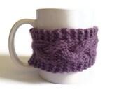 Mug Cozy Coffee Cozy Coffee Sleeve Cup Cozy Cable Knit in Dusty Purple