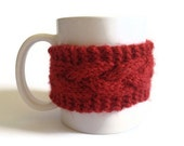 Mug Cozy Coffee Cozy Coffee Sleeve Cup Cozy Cable Knit in Red