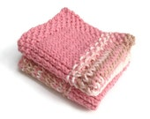 Dishcloth Vegan Washcloth Pink and Beige Multicolored Handknit Set of Two