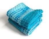 Dishcloth Vegan Washcloth Shades of Blue Handknit Set of Two