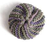 Dish Scrubbie Vegan Spiral in Dark Green and Purple Tribble Tawashi