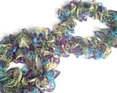 CLEARANCE Ruffle Scarf in Blue Purple Green and Yellow